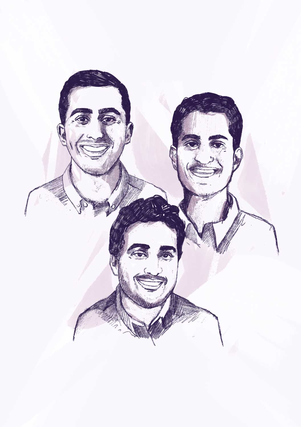 Anish Dhar, Ganesh Datta and Nikhil Unni sketch illustration