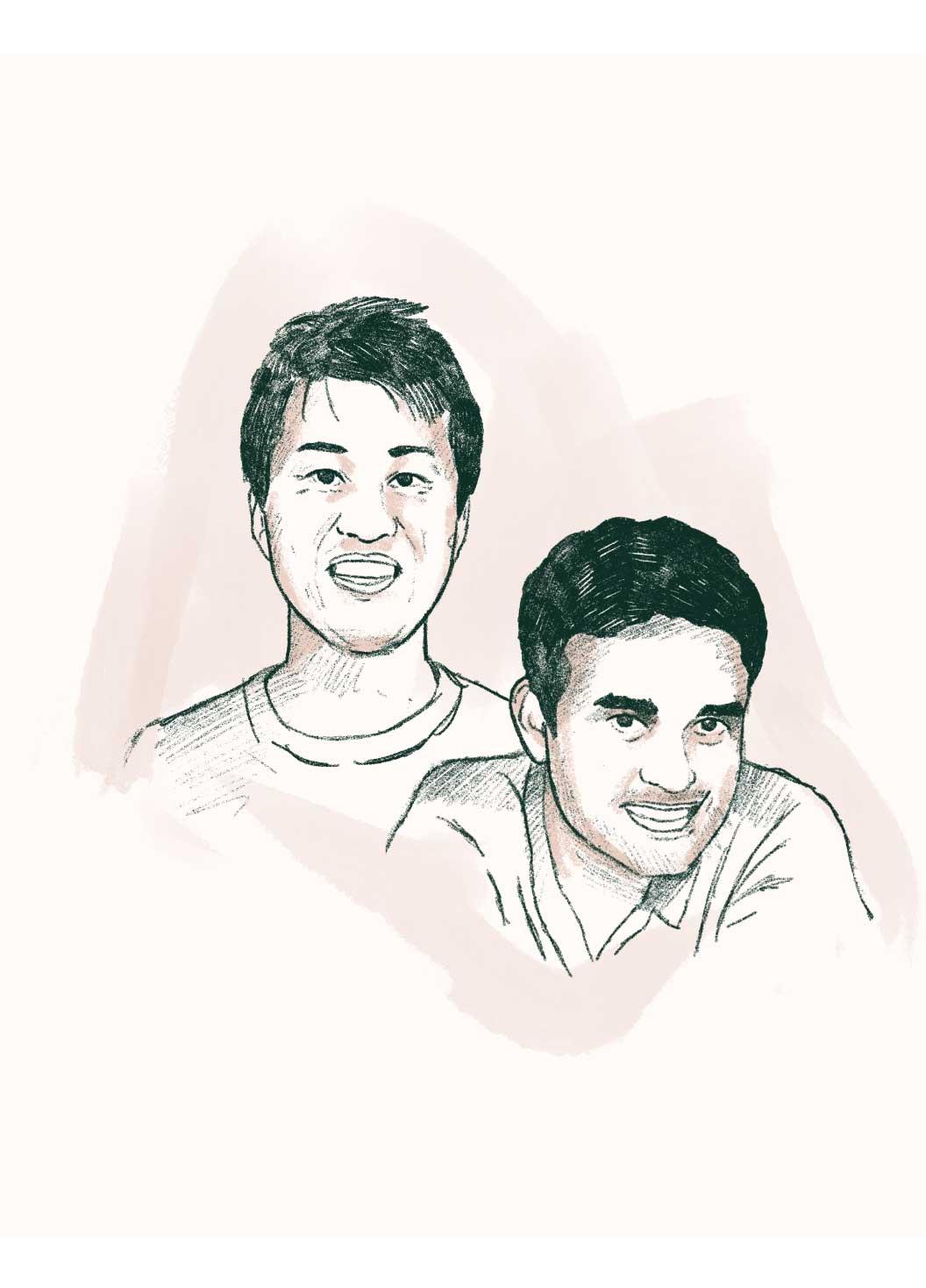 Leo Sanada and Pradeep Gaddam sketch illustration