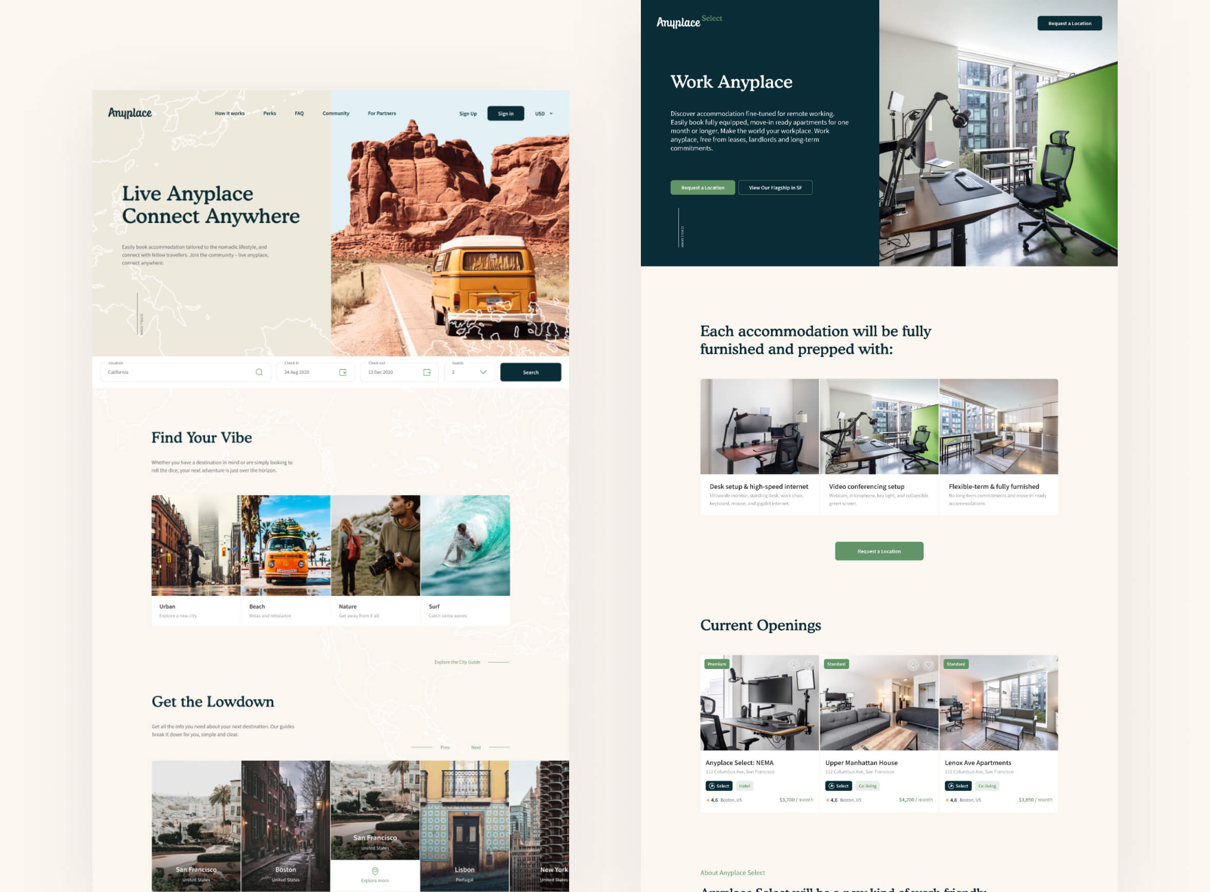 anyplace homepage design by zypsy