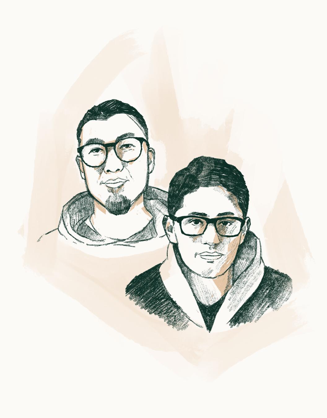 Satoru Steve Naito and Koichi Tanaka sketch illustration