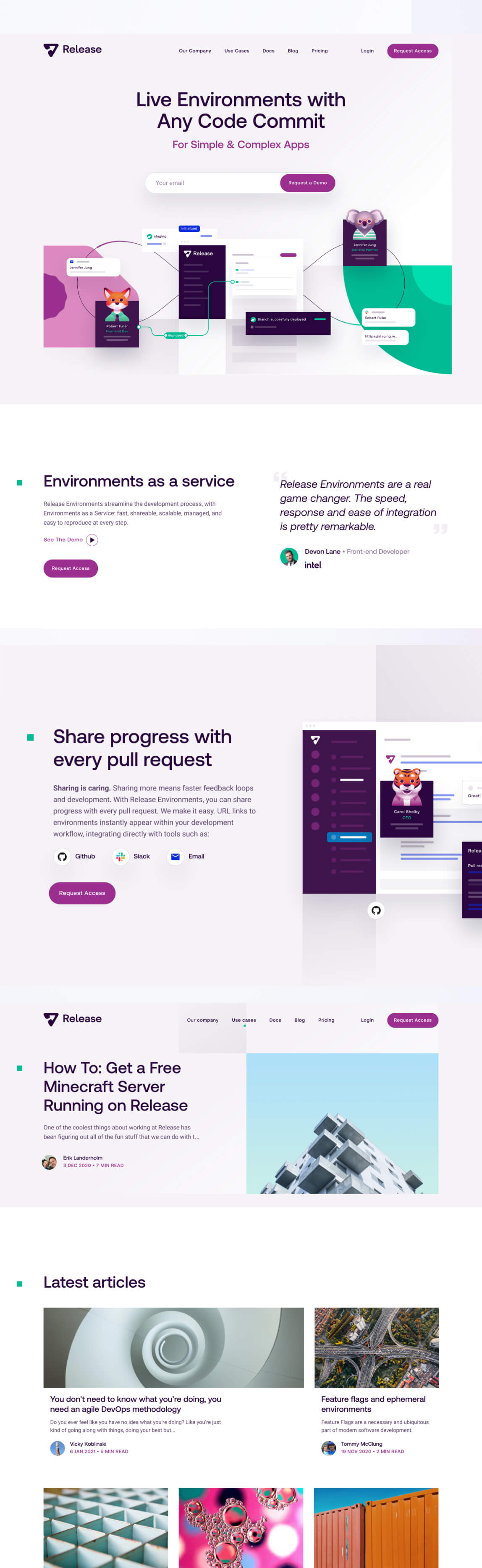 release homepage designed by zypsy design team