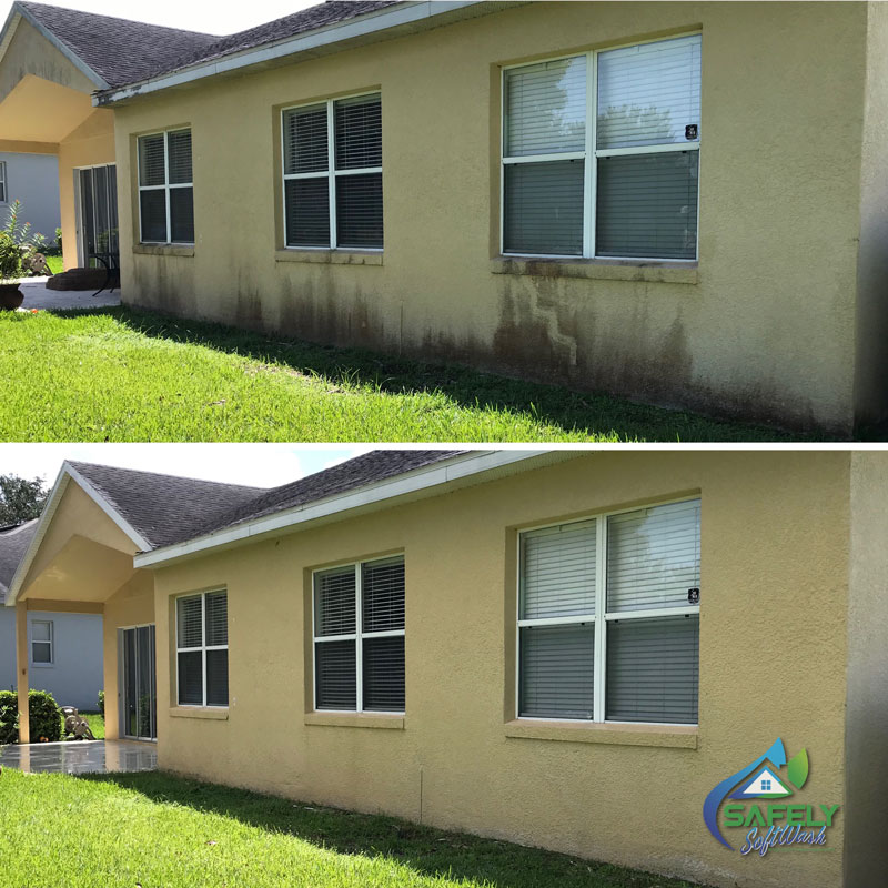 A before and after look of an exterior wall cleaned.