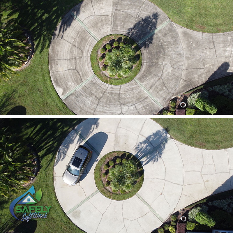 A before and after look of a concrete circle driveway cleaning.