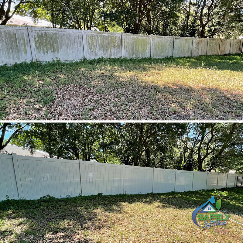 A before and after look of a fence cleaning.