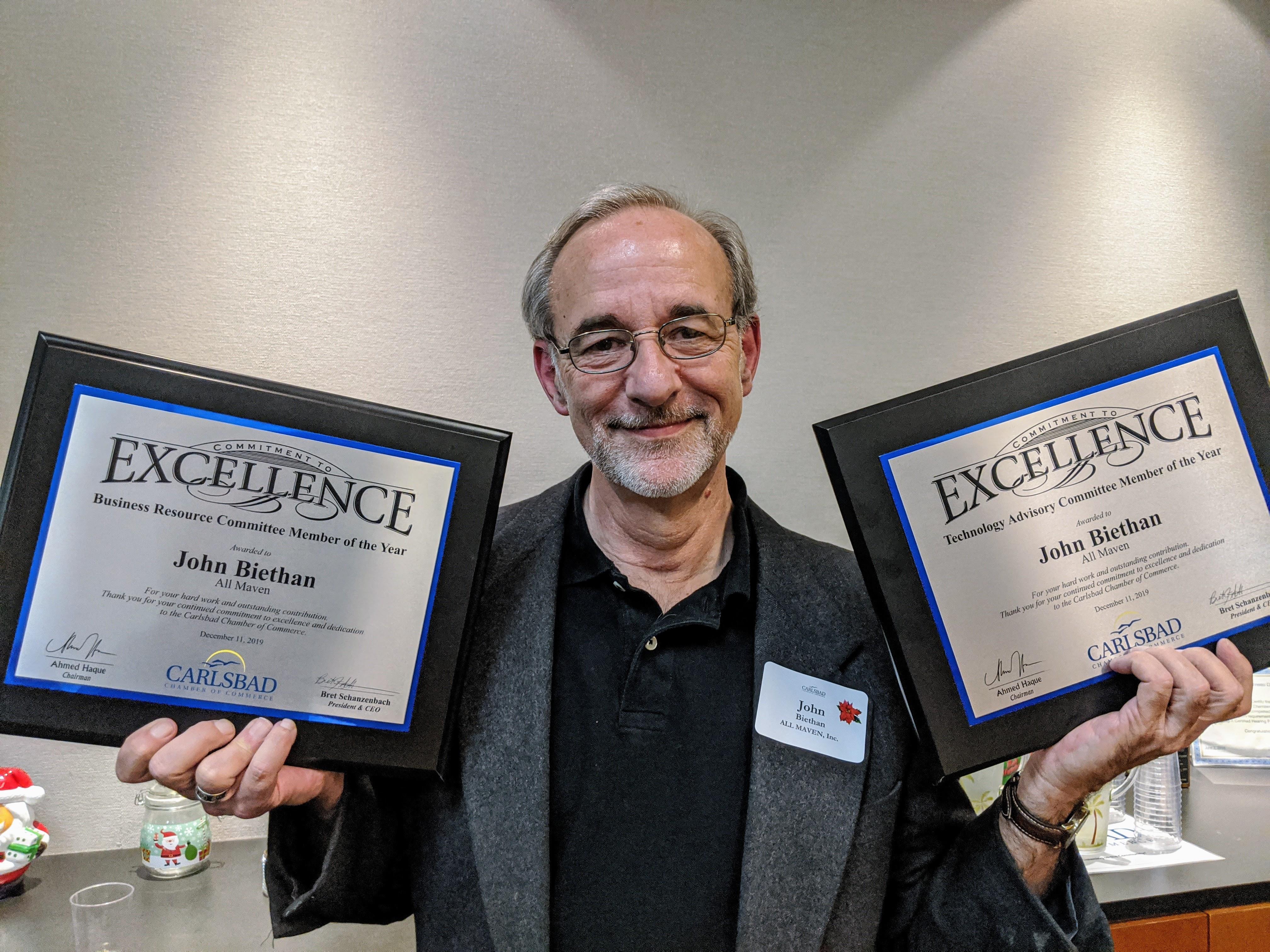 John Biethan receiving Carlsbad Chamber of Commerce awards