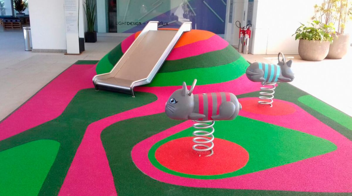 child playground with rubber surfacing