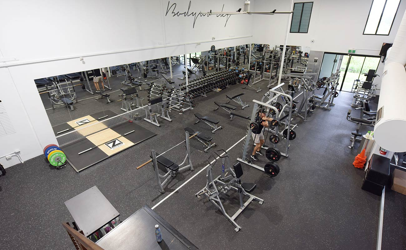 image of weights gym taken from upper level