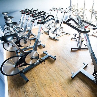 image of spin bikes in spin room