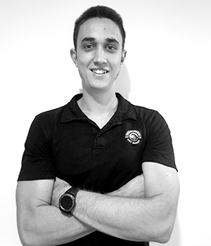 Black and white photo of instructor