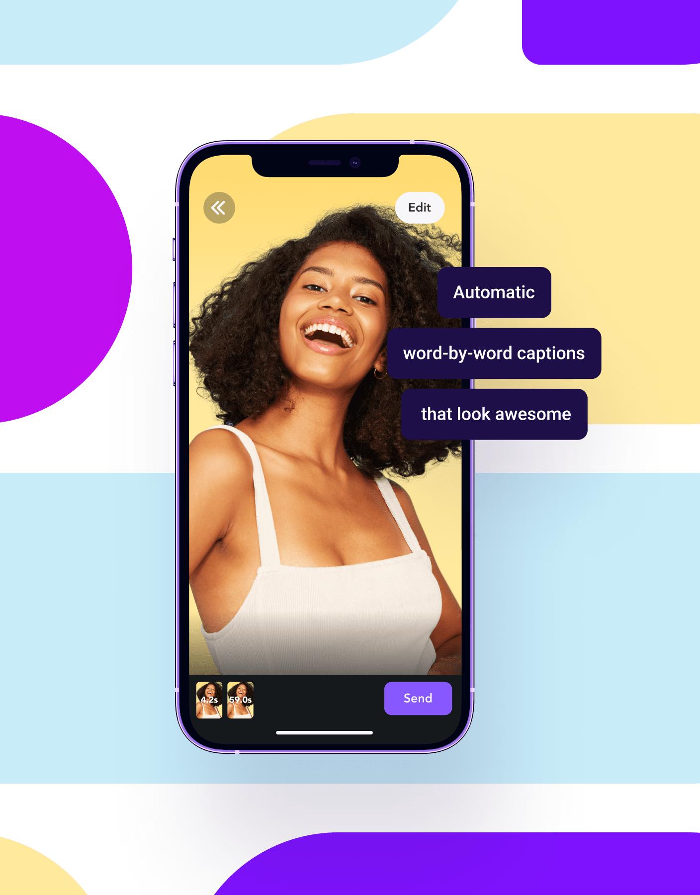 Captions app screen