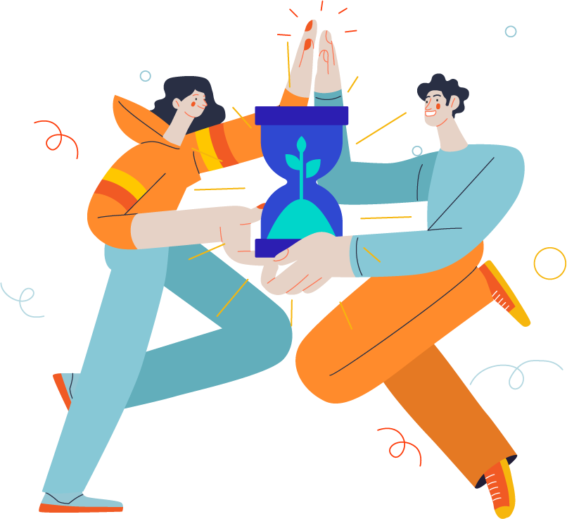 Illustration of two people sharing passive income opportunity