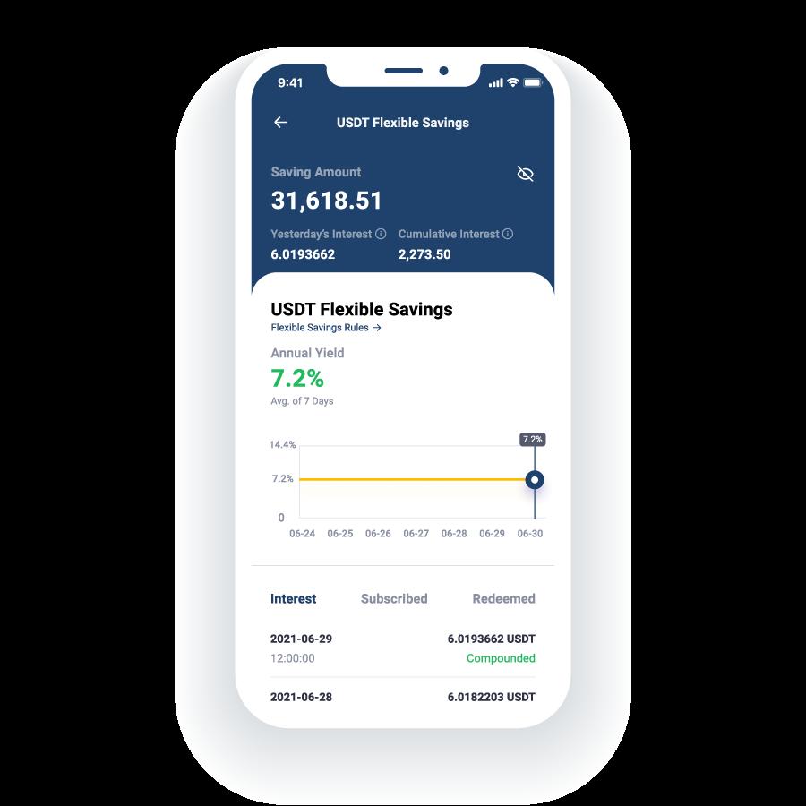 Cabital app shows high return on Tether (USDT) Flexible Savings