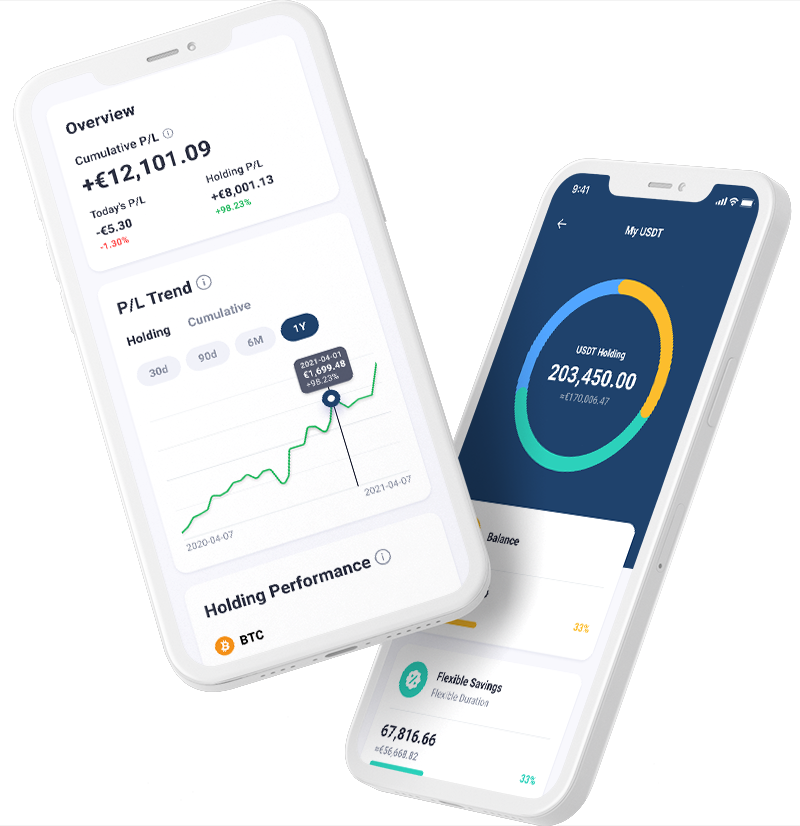 Two Cabital app screens show high returns on Bitcoin (BTC) and Tether (USDT)