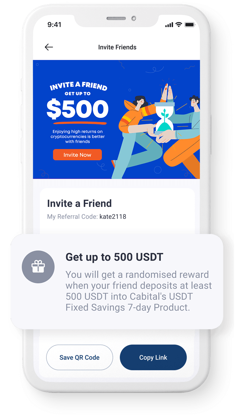 Screenshot of referral page with up to 500 USDT reward