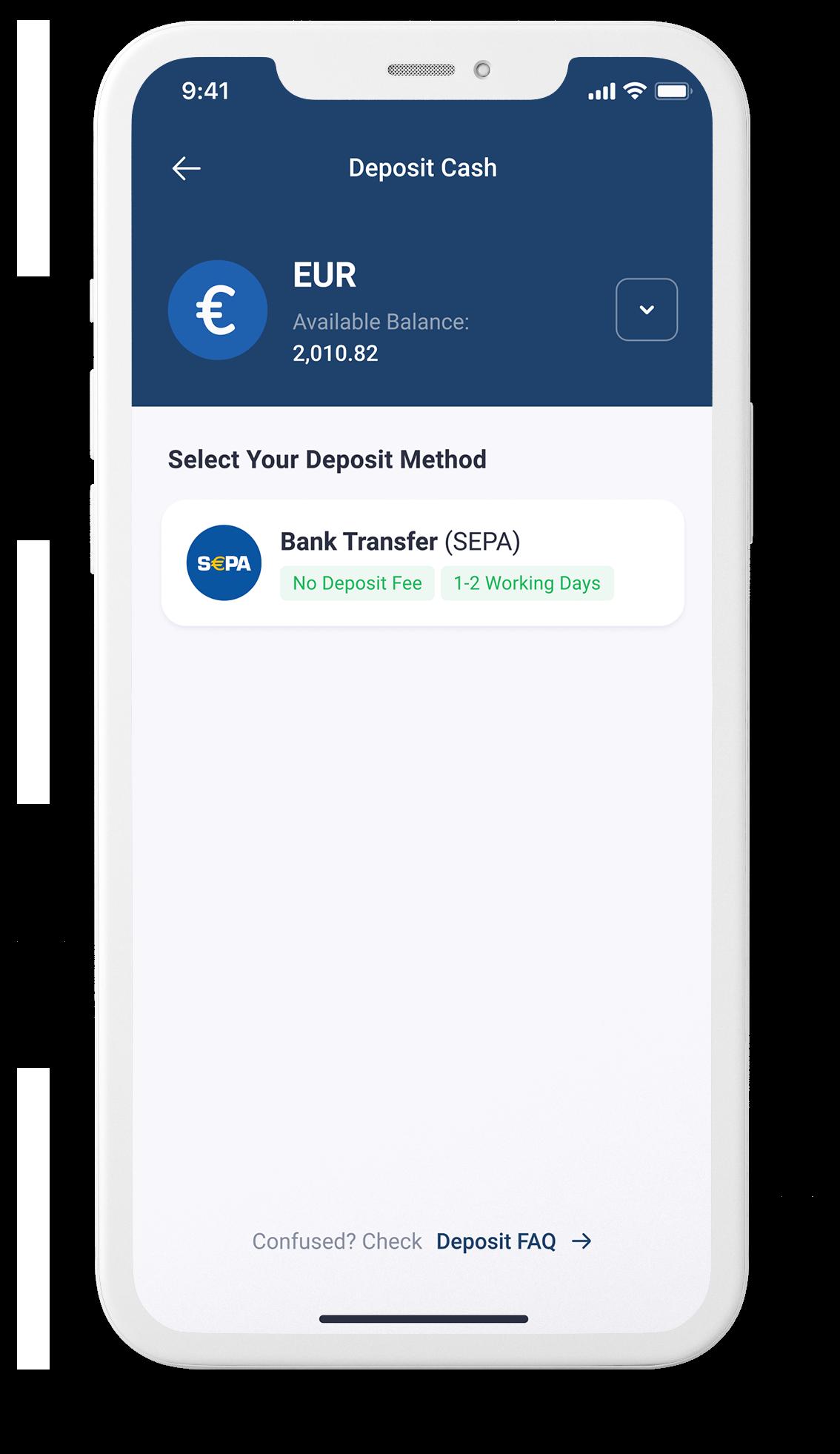 App screenshot of SEPA deposit