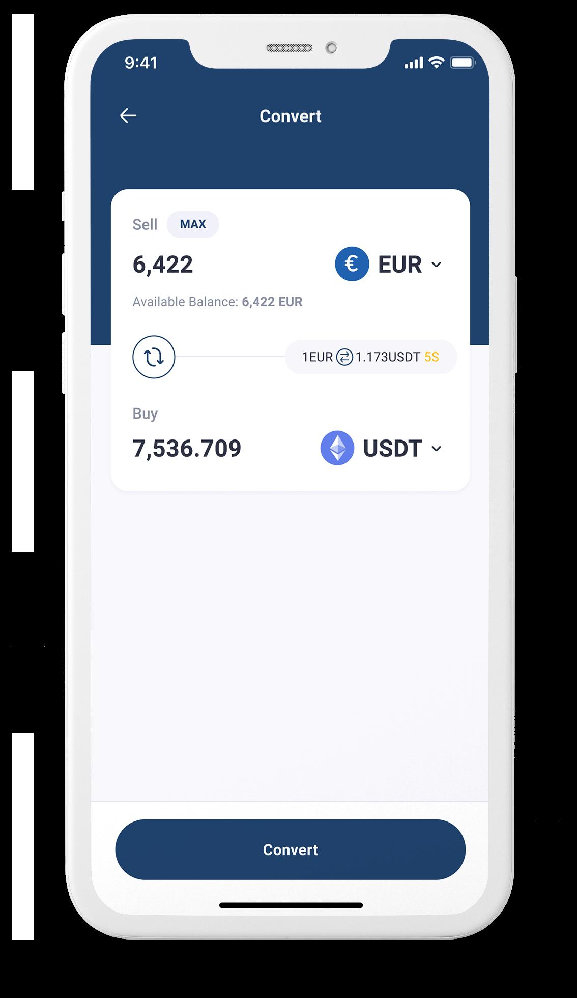 App screenshot of euro, BTC, ETH, USDT conversion