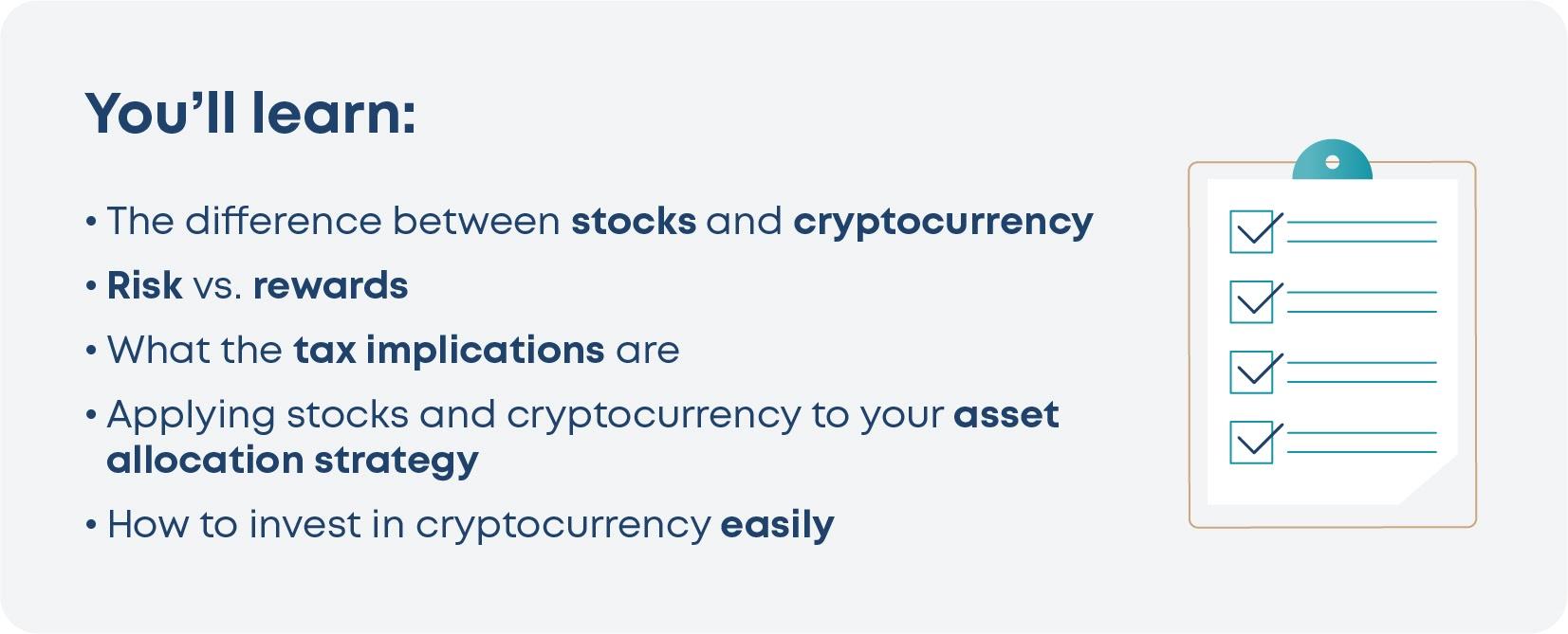 Key points for stocks vs crypto