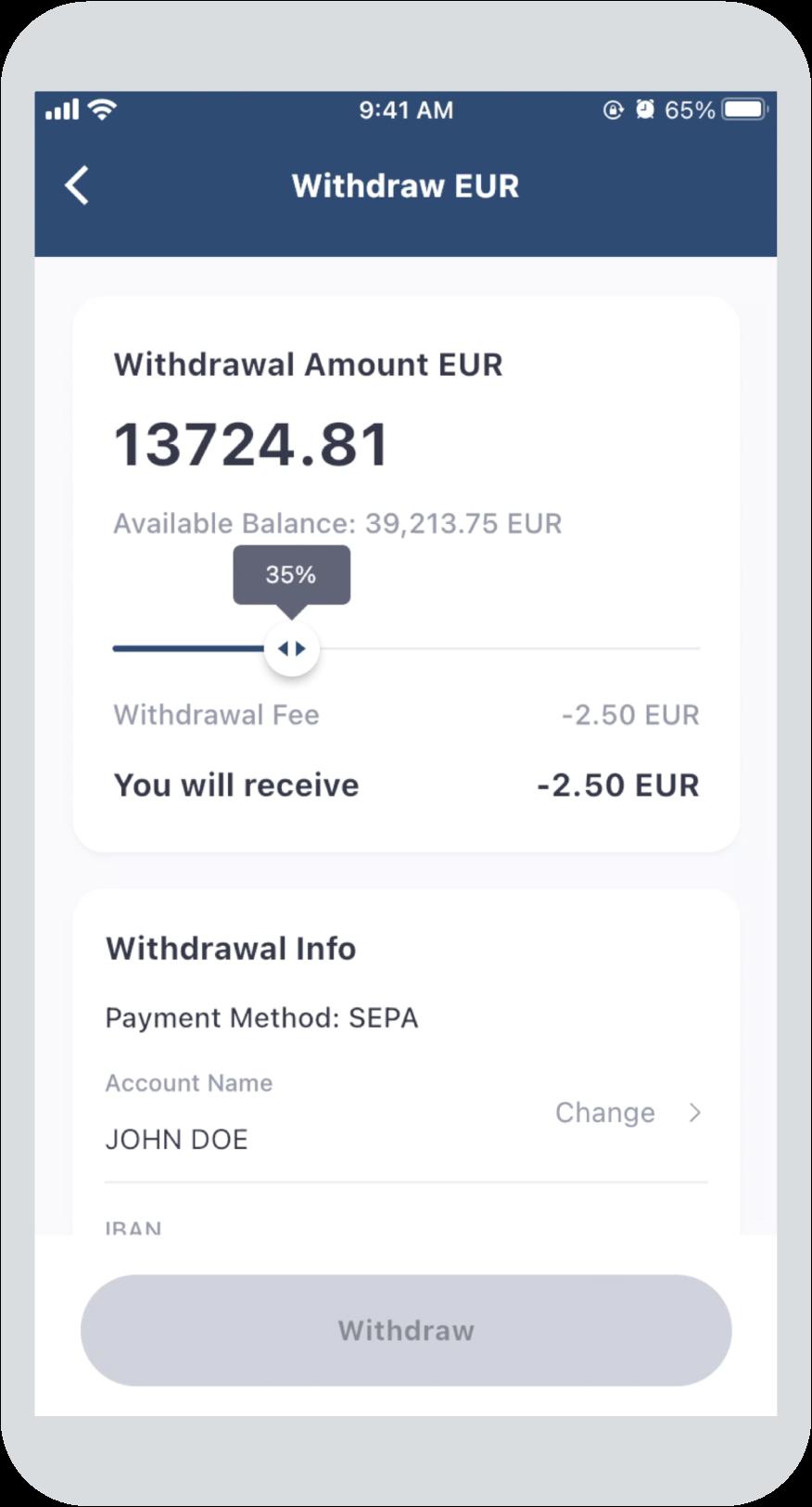 Step 1: Choose withdrawal amount