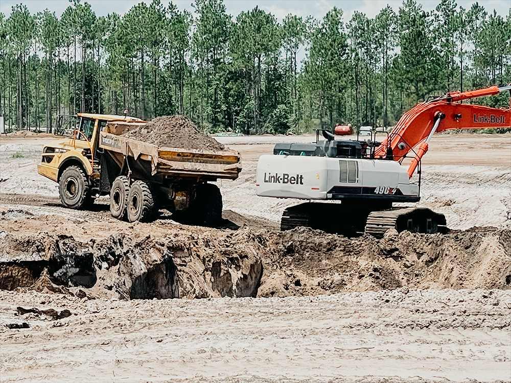 dump truck and digger