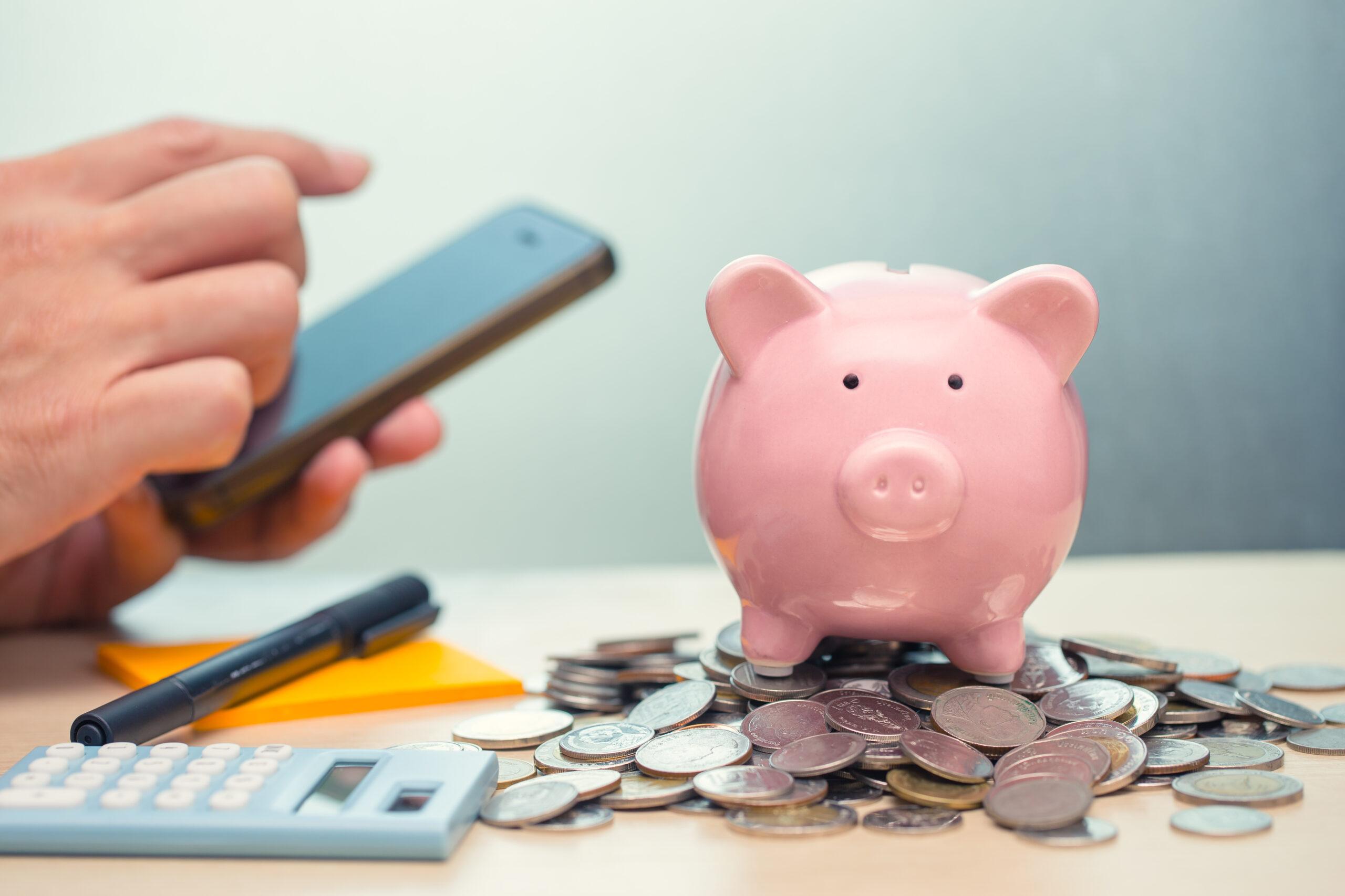 Броене на монети от прасе касичка, за да се прецени какъв заем до заплата да бъде взет