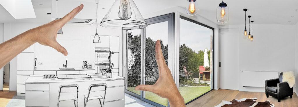 Част от проект на къща, показващ как ще изглежда кухнята