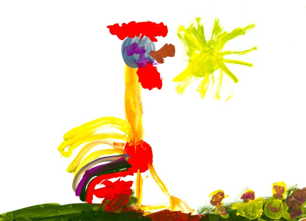 Картина на петел след рисуването на малко дете