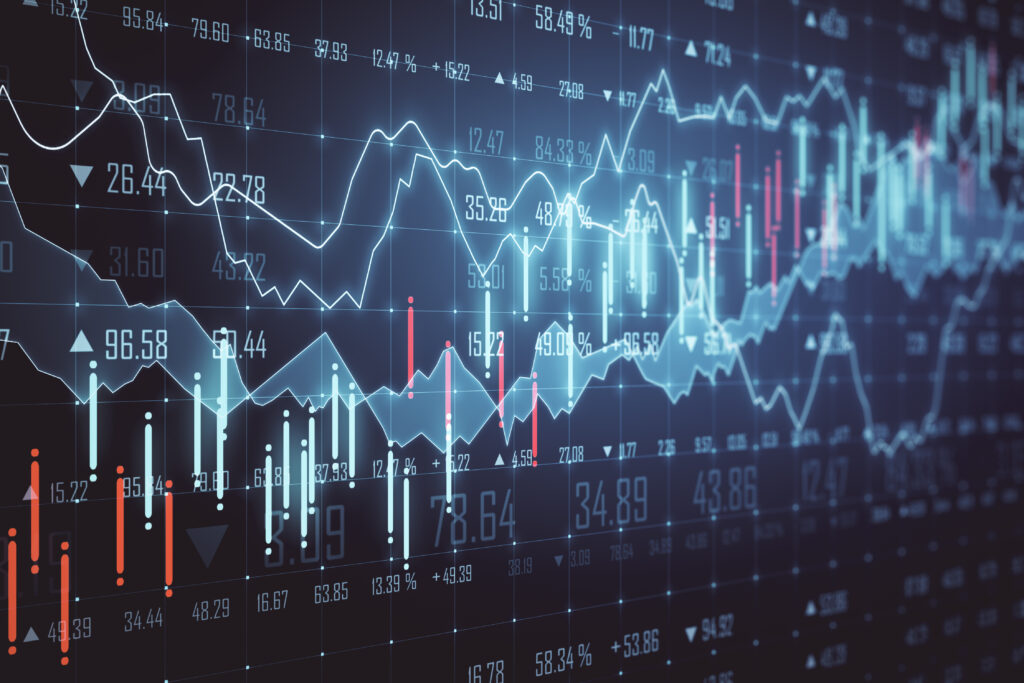 Графика, показваща движението на цената на акции