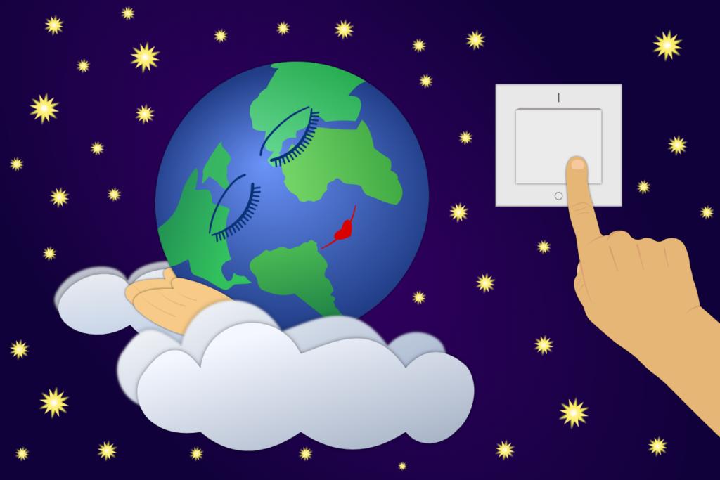Часът на Земята, изобразен с изключване на осветлението и планетата ни, която спи сладък сън