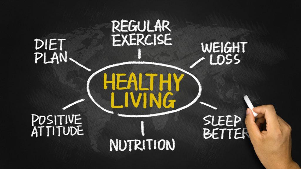 Концепция за здравословен начин на живот, нарисувана на дъска