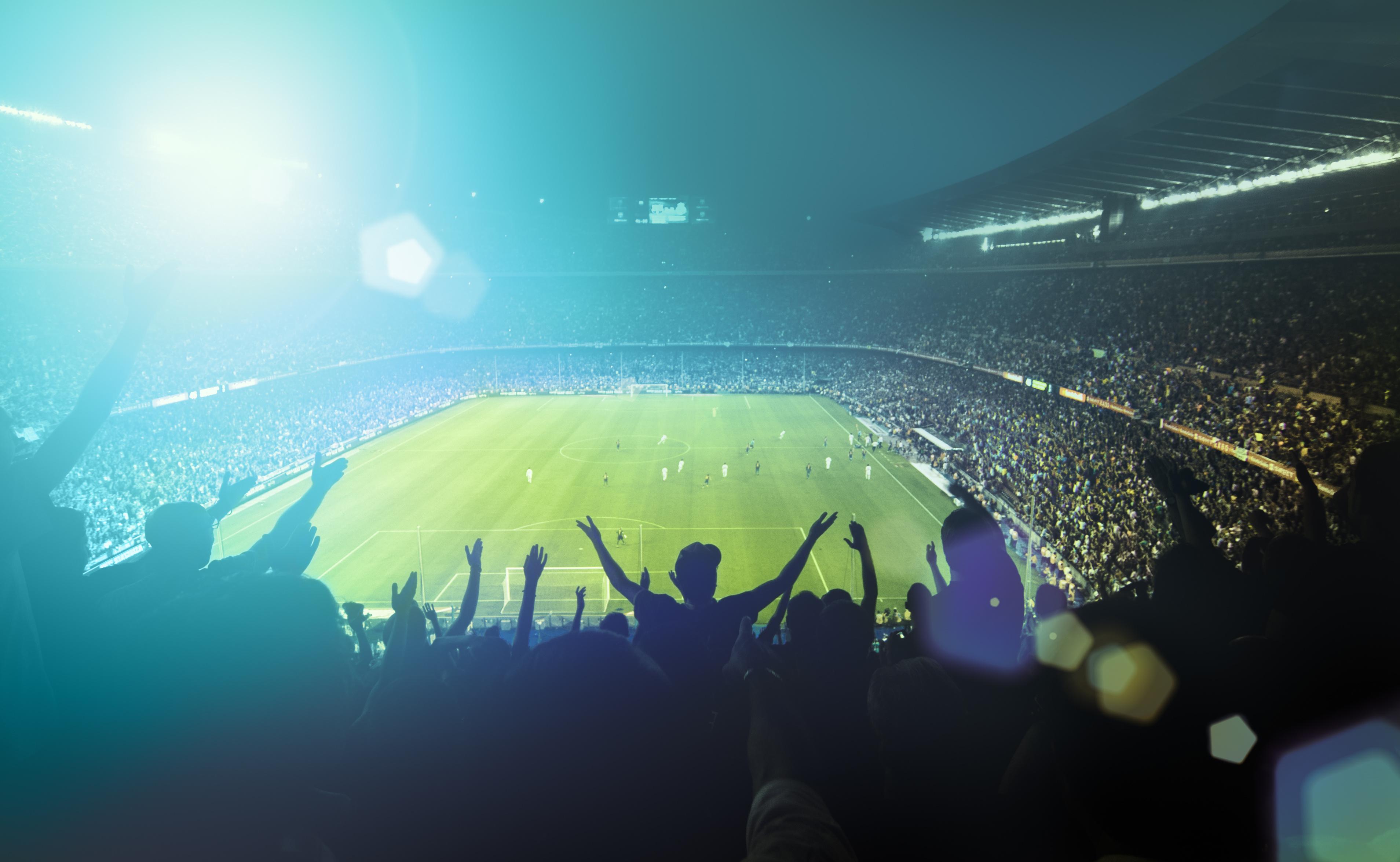 Световно първенство по футбол 2018 в Русия - пълен стадион с фенове
