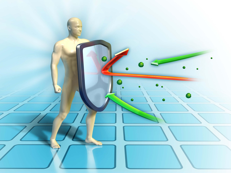 Подсилена имунна система, представена като щит, отблъскващ вредните организми