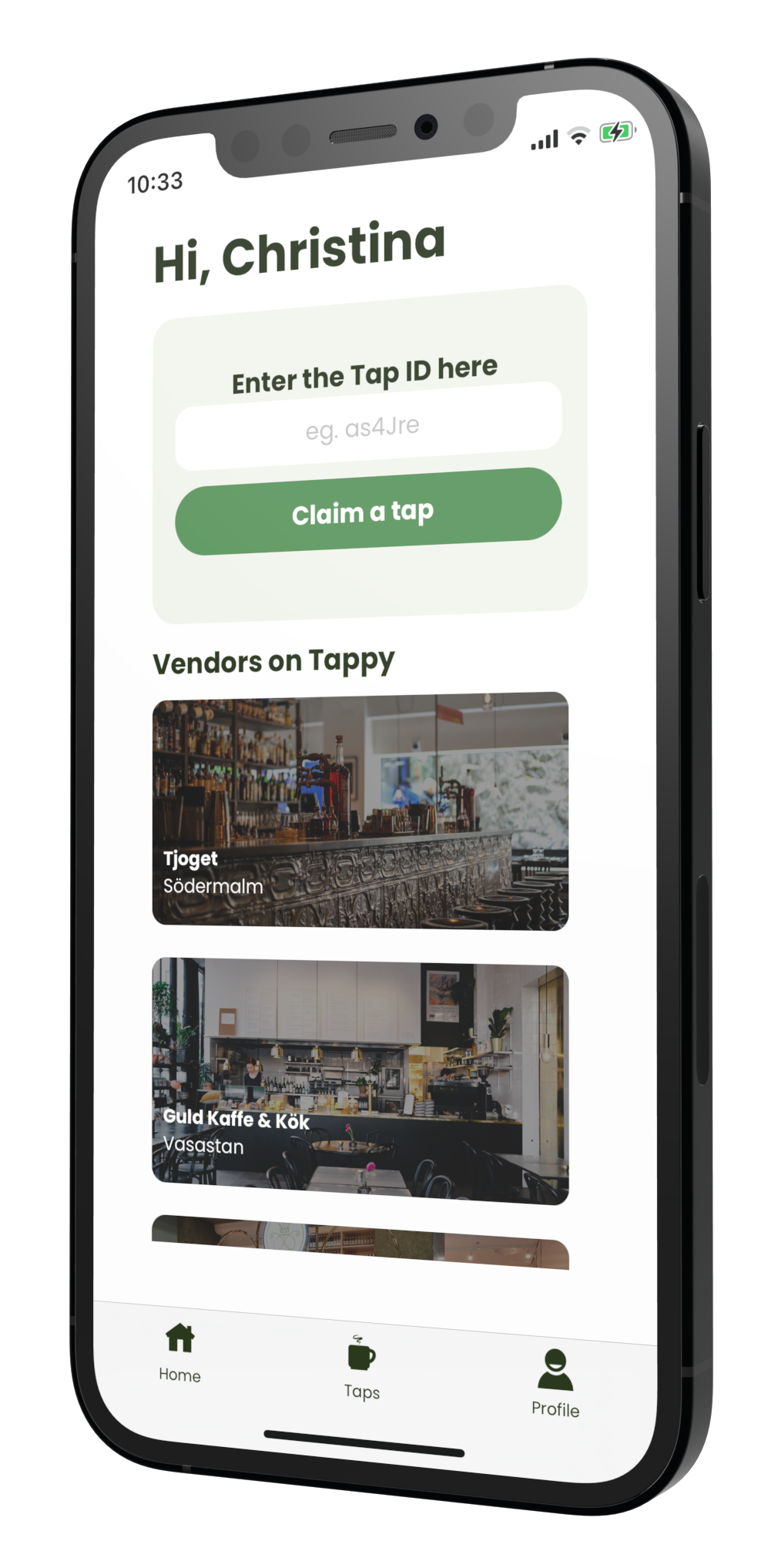 A mockup of the Tappy app, displaying various bars and restaurants available on the app.