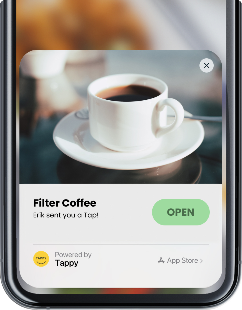 A mockup screenshot of the Tappy app pop-up notifying the user that they've been sent a filter coffee.
