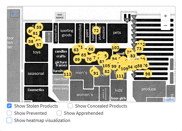 Aggregated store map showing patterns of theft.