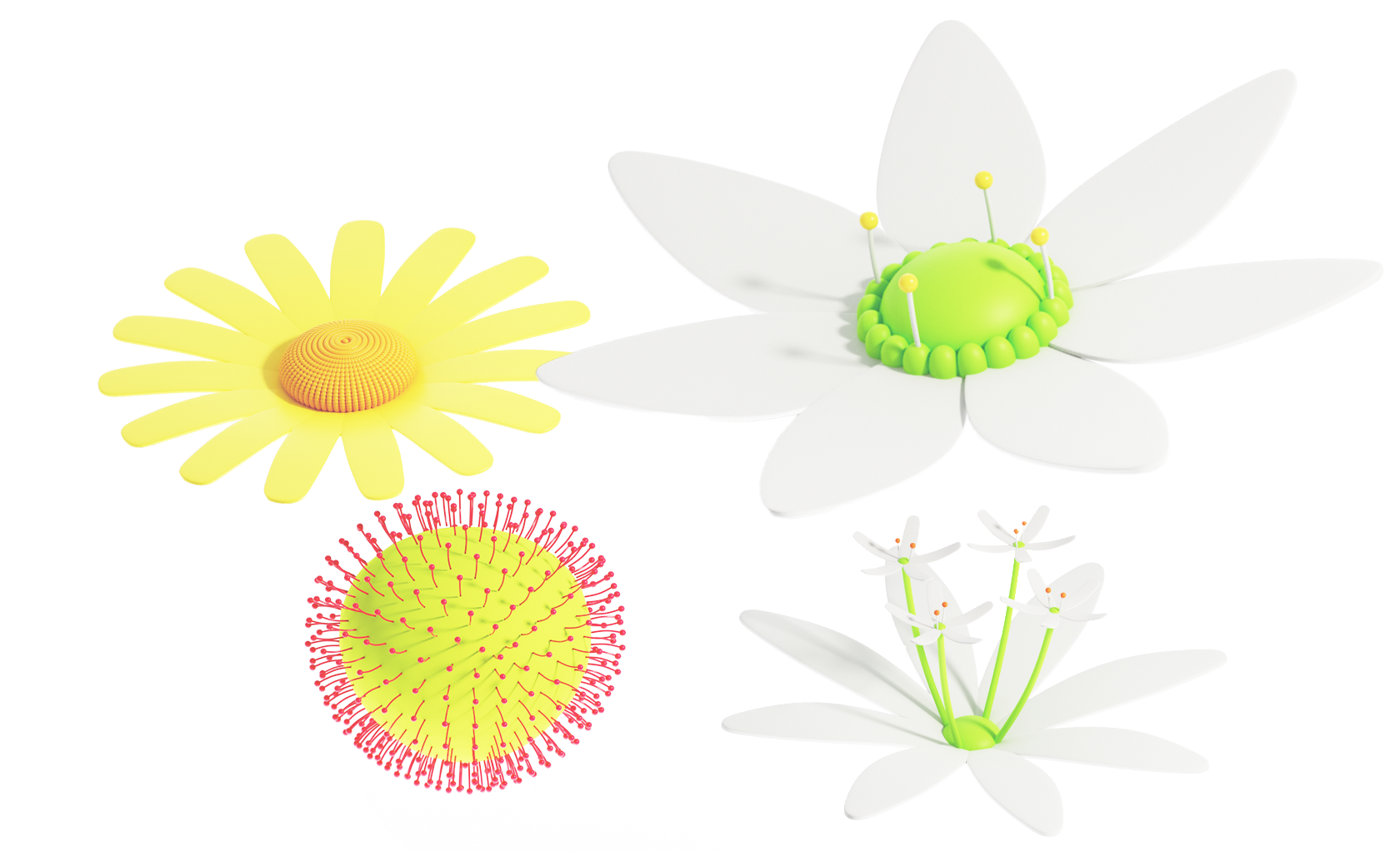 3d flowers used as assets in meadow