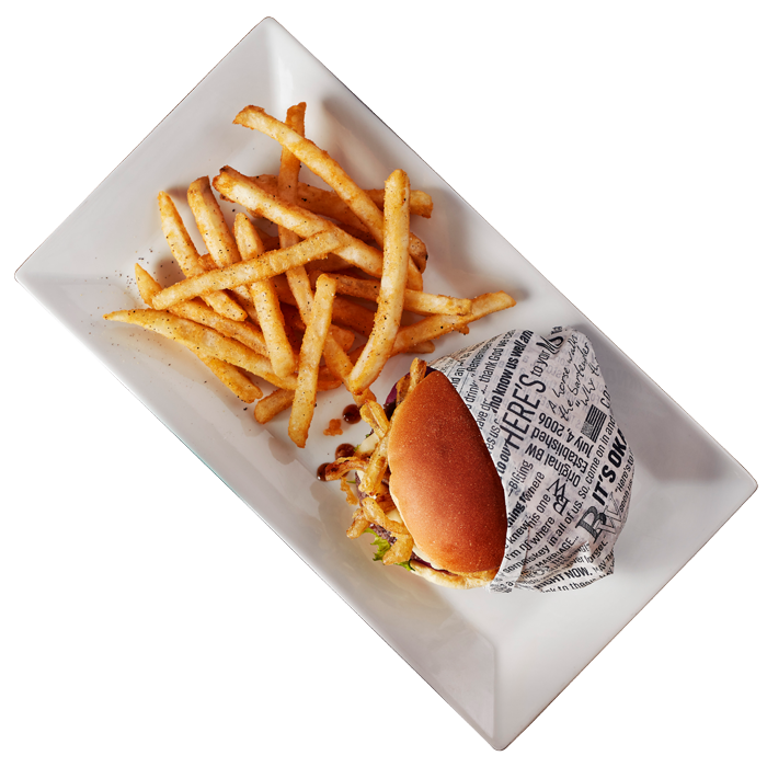 Burgers and fries from emerging restaurant franchise