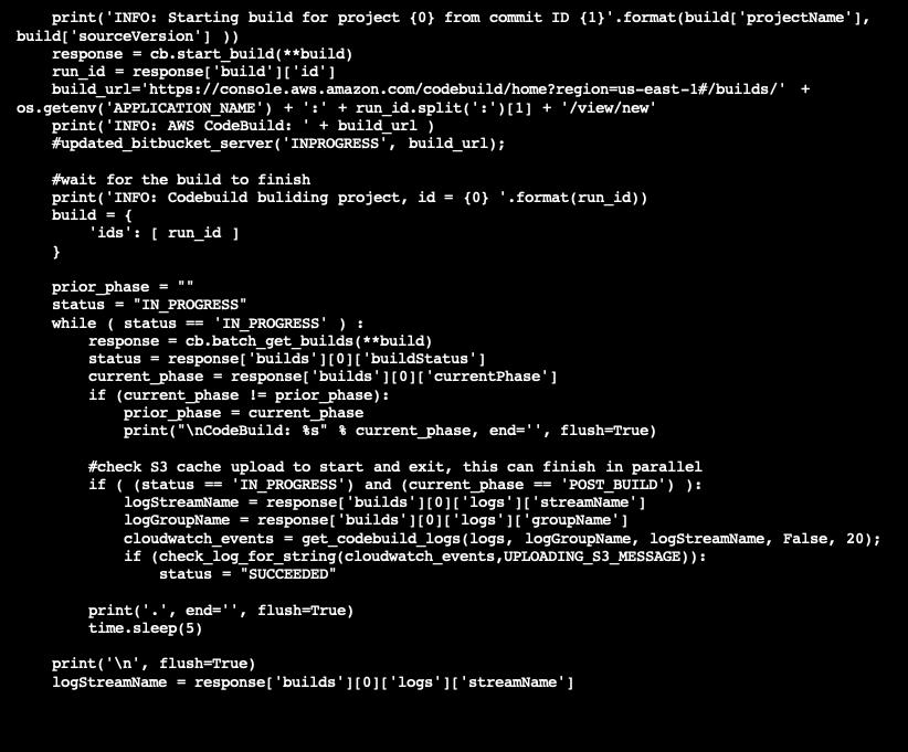 Sample bitbucket build code