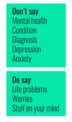 A slide from the Spill brand guidelines on what to say or not say
