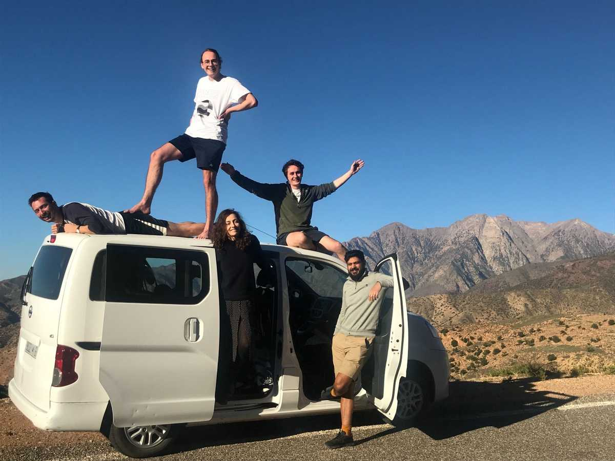 Team on a road trip through the Atlas mountains