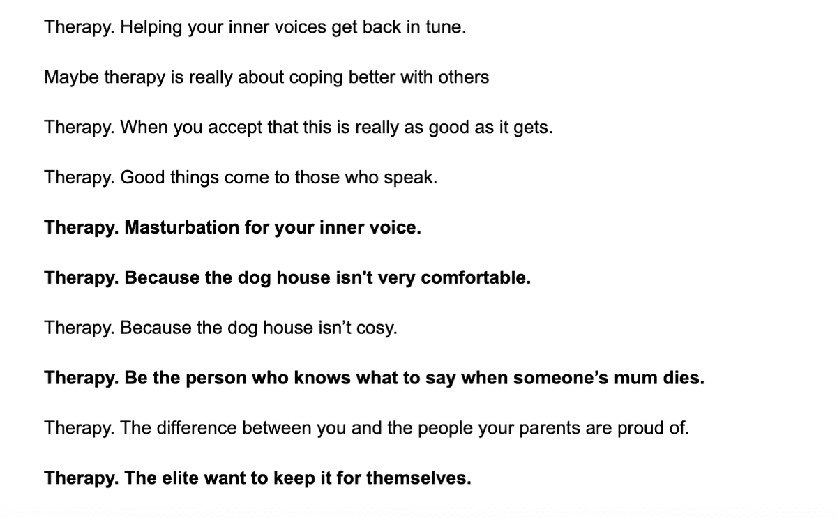 Some examples of the hundreds of lines we wrote