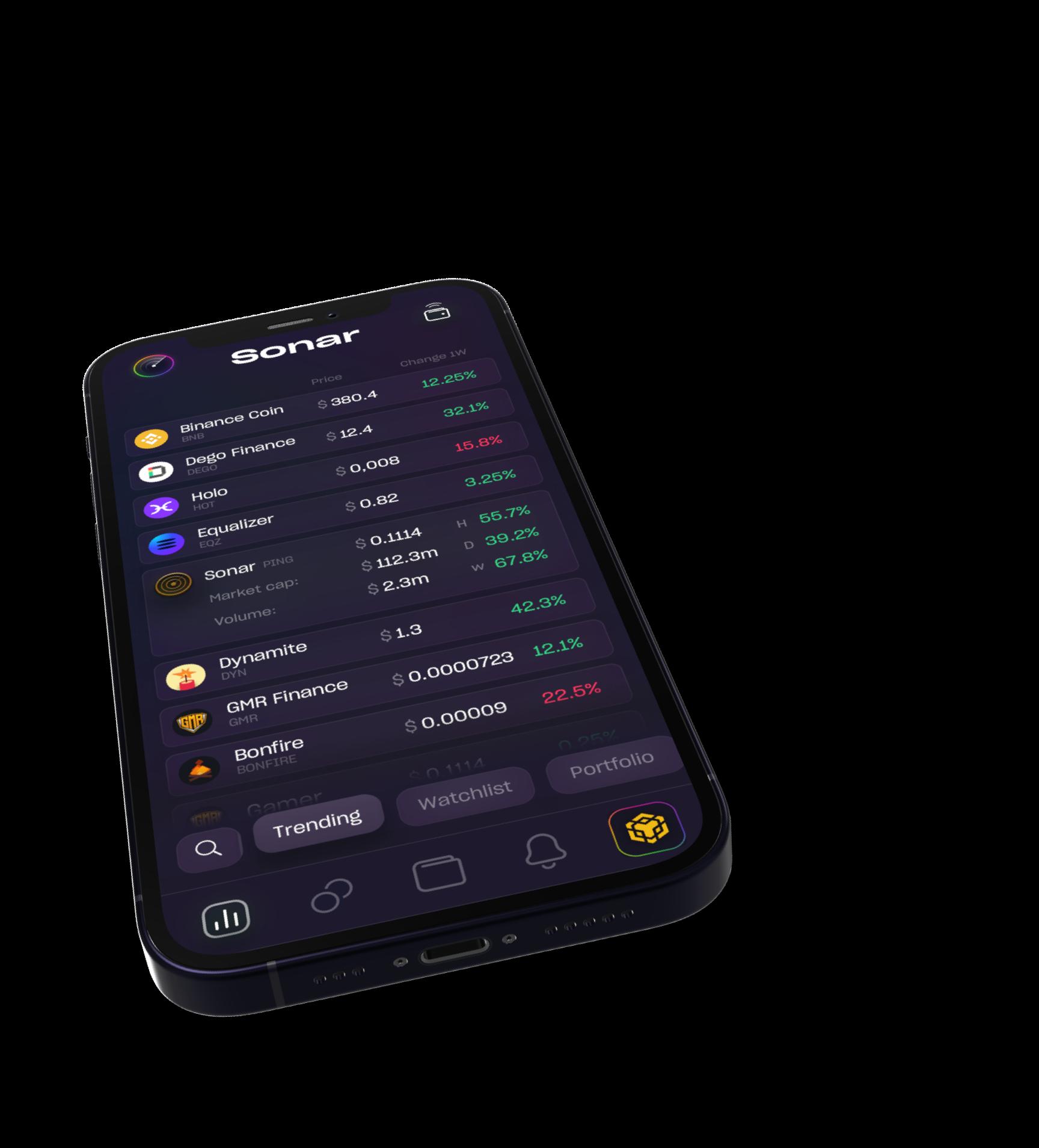 iPhone with Sonar platform screenshot