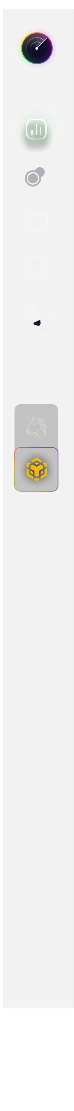 Sonar crypto platform sidebar menu screenshot