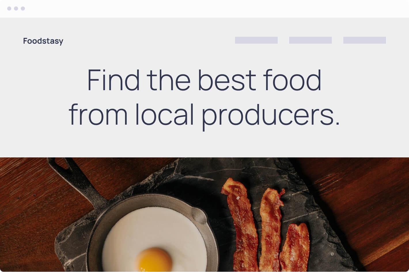 Browser mockup of a fast food restaurant website