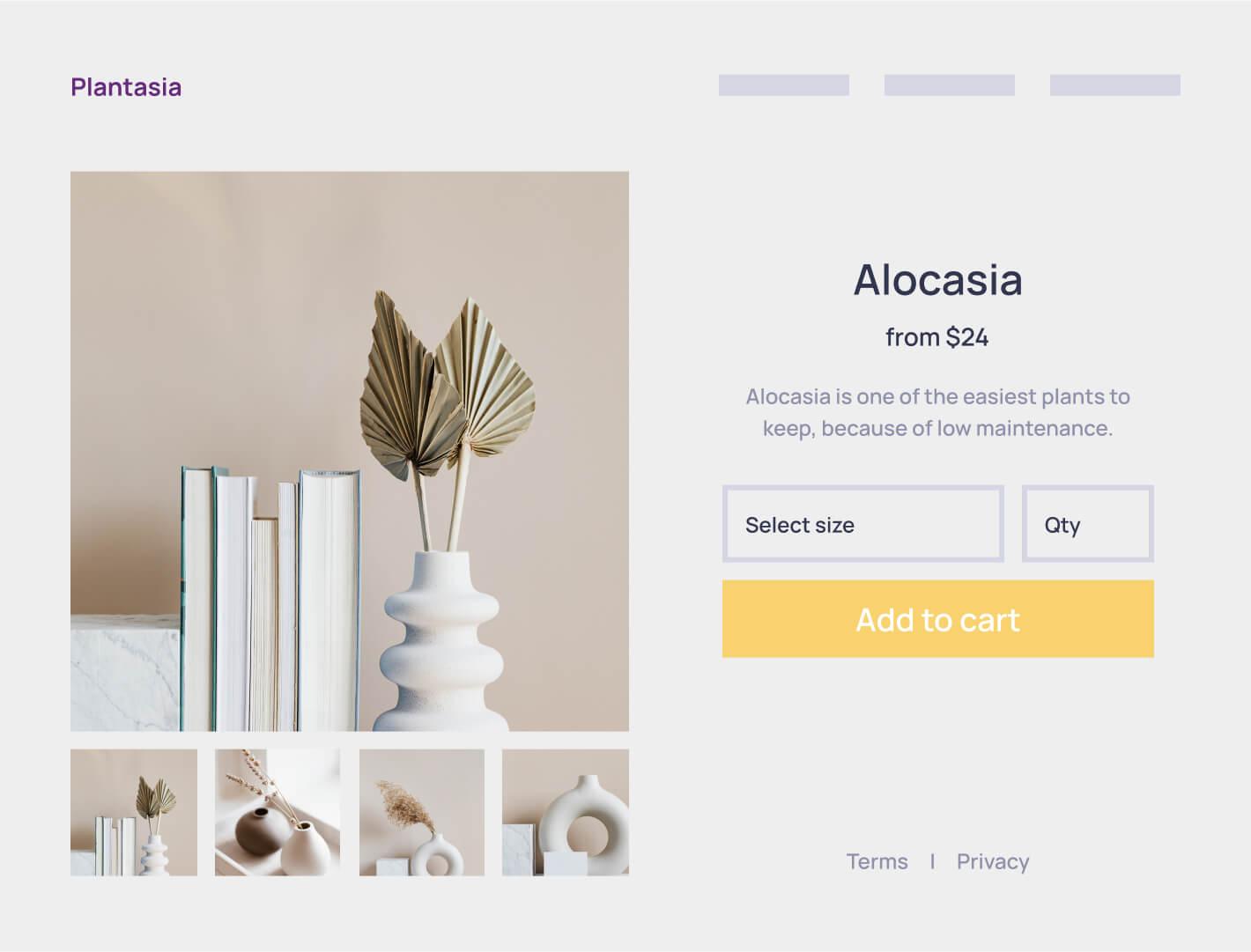Browser mockup of an e-commerce website