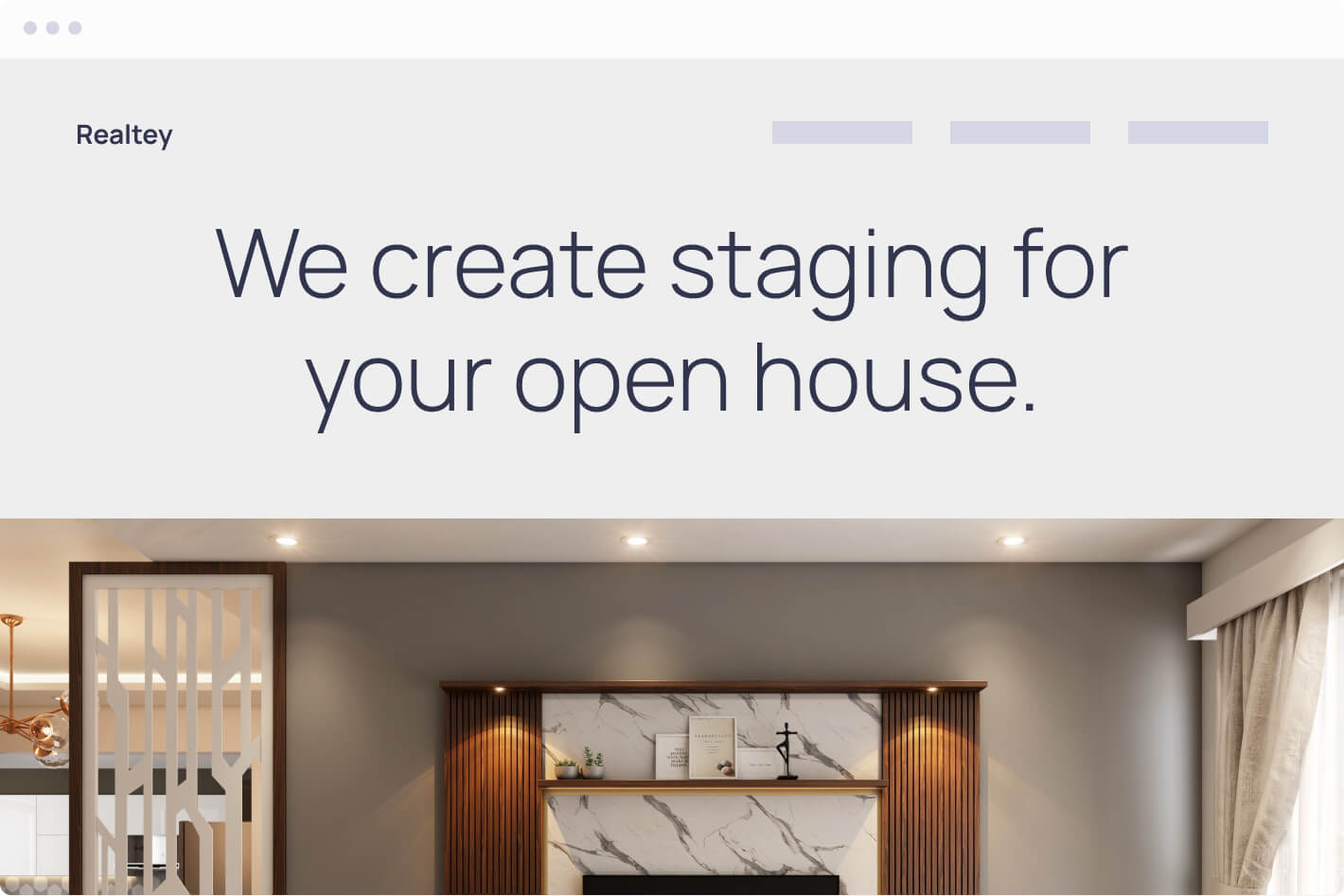 Browser mockup of a real estate purchase website