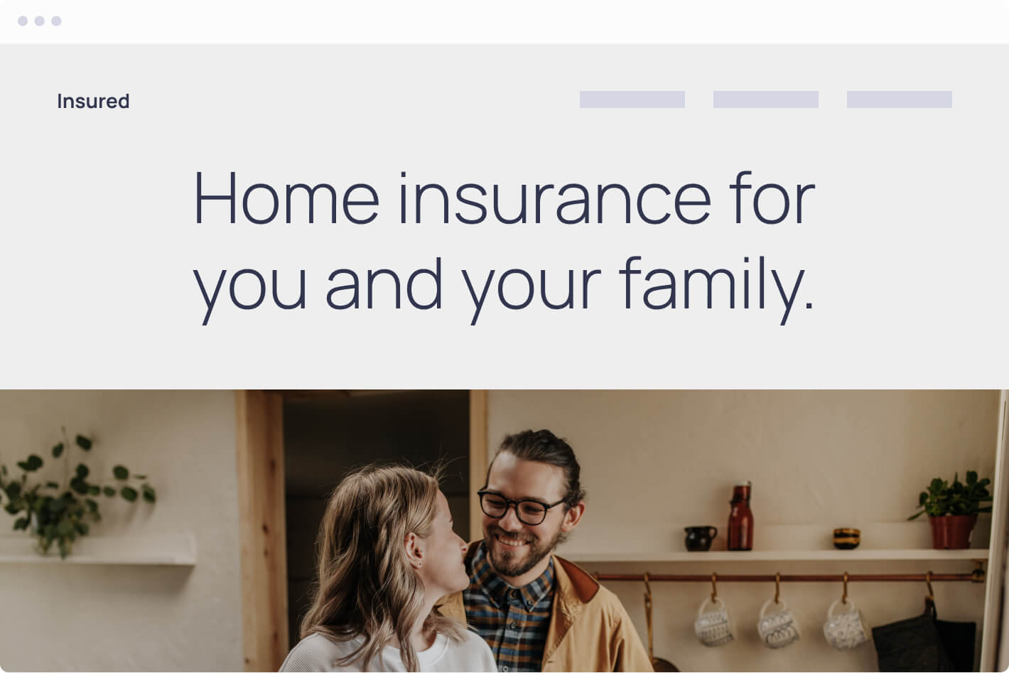Browser mockup of an insurance company website