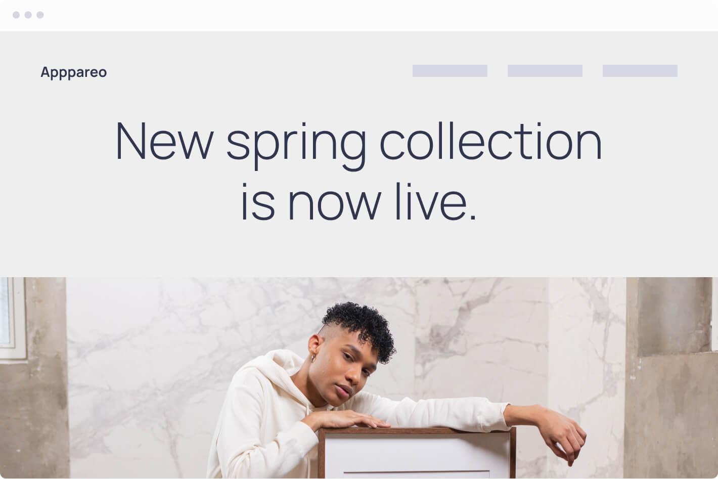 Browser mockup of a boutique website