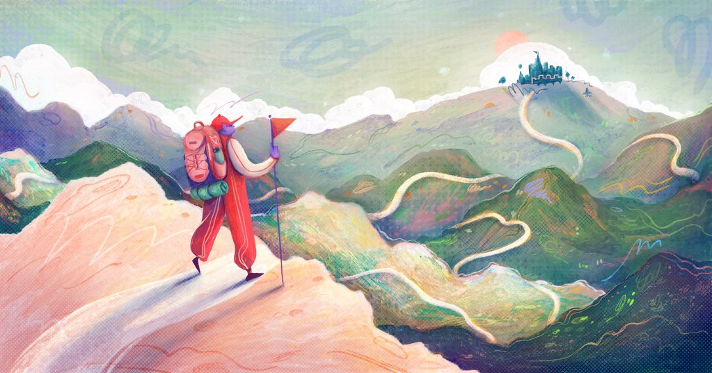 Illustration of an adventurer surveying the rolling hillsides, representing an entrepreneur ready to start their business