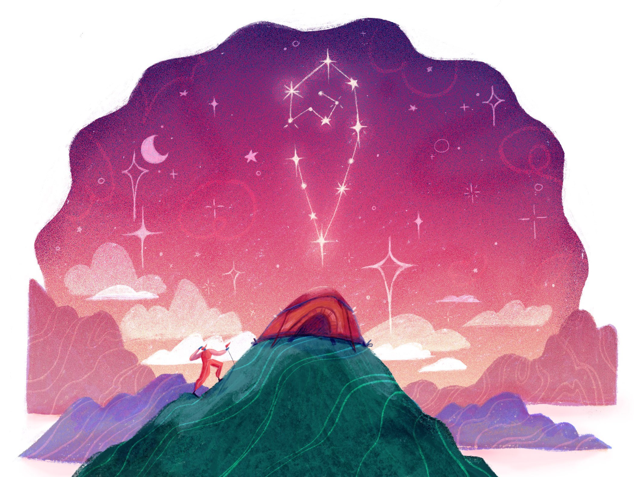 Illustration of a character camping out under the night sky