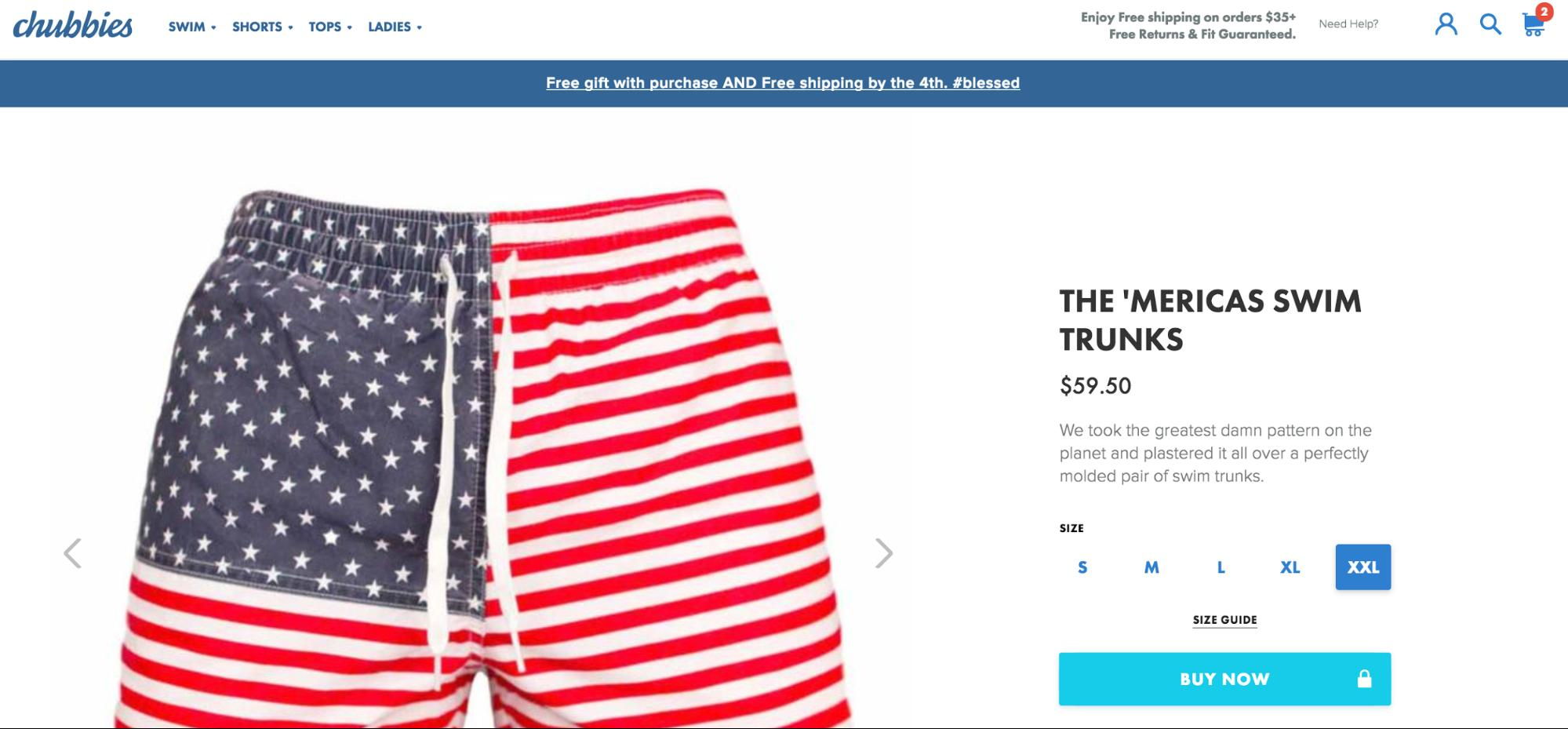 Chubbies product page